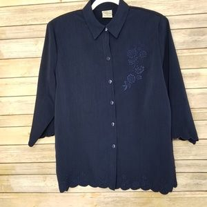 Allison Daley Nice Blue Embroidered blouse EUC